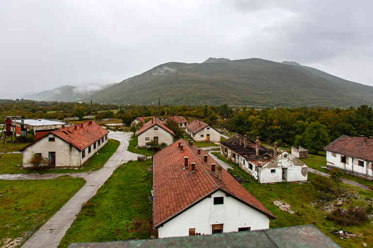 Destroyed buildings on main train station in Gračac, Croatia.