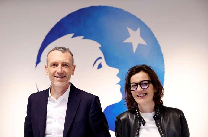 Emmanuel Faber, directeur général de Danone, et Cecile Cabanis, directrice générale finances, à Paris, le 26 février 2020.