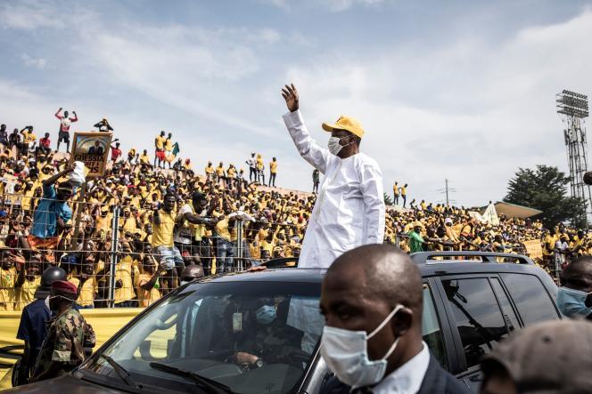 Le président guinéen Alpha Condé, en campagne pour sa réélection, le 16 octobre à Conakry.