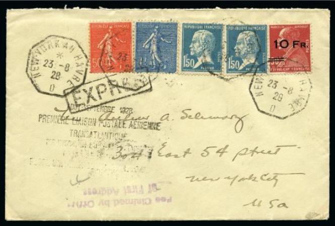 Prix réalisé pour cette lettre« exprès» transportée par « L'Ile-de-France» (1928), vendue par Feldman (Suisse) en juin 2019: 1000 euros.