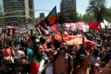 Santiago, le 18 octobre 2020. Manifestation antigouvernementale commémorant le soulèvement d'octobre 2019.