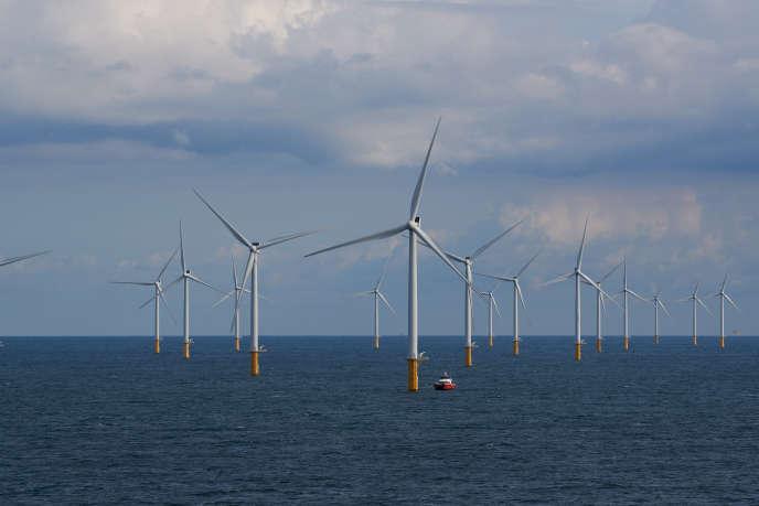 Eoliennes près de la côte belge, le 9 septembre 2019.