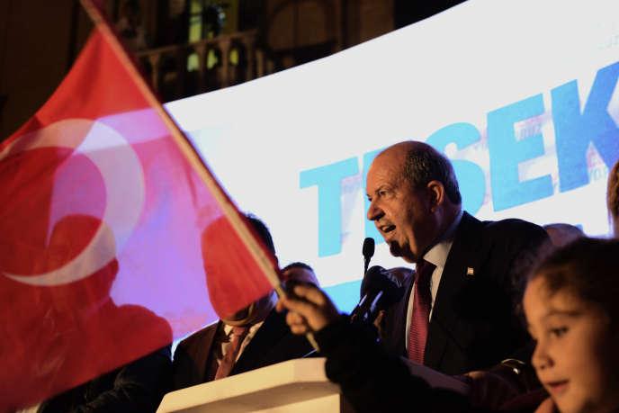 Ersin Tatar, le 18 octobre dans la partie turque de Nicosie.