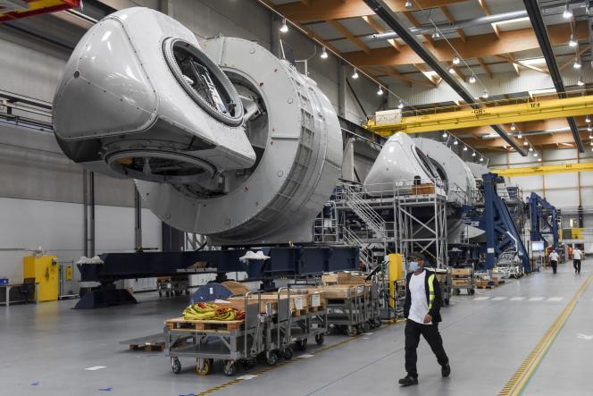 Fabrication de l'éolienne offshore Haliade 150-6 MW à l'usine General Electric de Montoir-de-Bretagne (Loire-Atlantique), le 15 septembre 2020. Elle est destinée au futur parc au large de Saint-Nazaire.