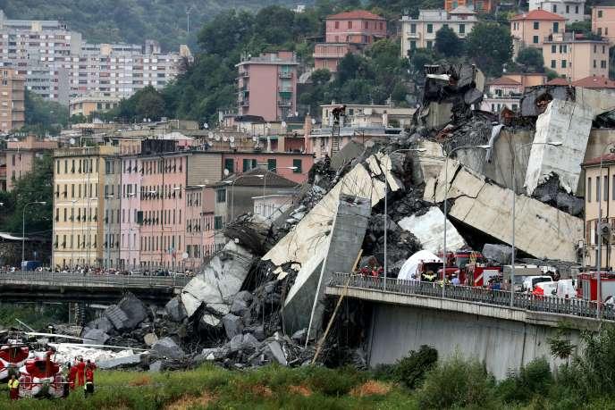 Le pont de Gênes effondré, le 14 août 2018.