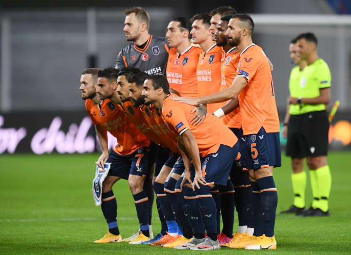 L'équiped'Istanbul Basaksehir, pour ses débuts en Ligue des champions, sur le terrain de Leipzig,le 20 octobre 2020.