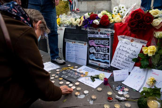 Rassemblement en hommage à Samuel Paty, à Paris, le 18octobre2020.