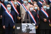 Hommage à Samuel Paty, devant l'Assemblée nationale, à Paris, le 20 octobre 2020.