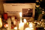 Mémorial en hommage au professeur d'histoire-géographie Samuel Paty, à Nice, le 21 octobre.