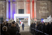 Emmanuel Macron, lors de la cérémonie en hommage à Samuel Paty, à Paris, le 21 octobre.