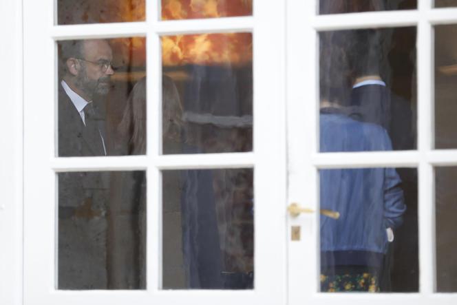 Edouard Philippe, alors premier ministre, lors d'une réunion interministérielle à Matignon à Paris, le 14 mai.