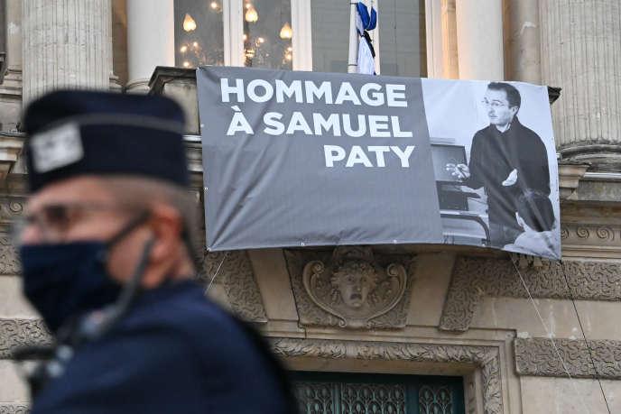 Un hommage national a été rendu à Samuel Paty, à la Sorbonne, à Paris, le 21 octobre.