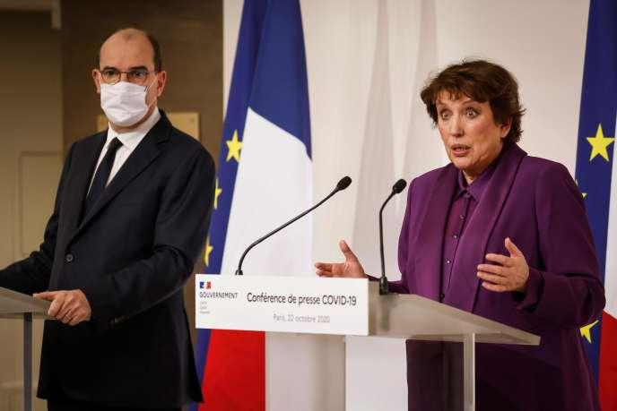 Roselyne Bachelot ve Jean Castex 22 Ekim Perşembe günü basın toplantısında.