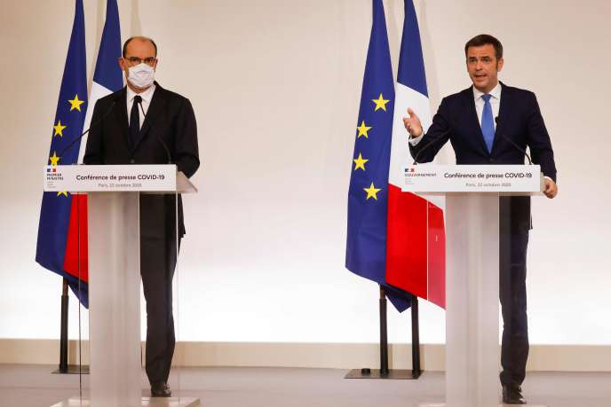Le Premier ministre Jean Castex et le ministre de la Santé Olivier Véran, à Paris, le 22 octobre.