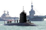 Le sous-marin d'attaque français « Perle», le 27 juin 2005, à Portsmouth (Angleterre).