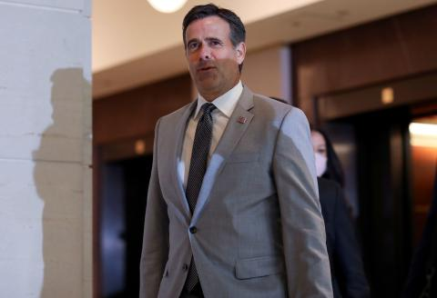 FILE PHOTO: Director of National Intelligence (DNI) John Ratcliffe arrives to brief Congressional leaders on reports that Russia paid the Taliban bounties to kill U.S. military in Afghanistan, on Capitol Hill in Washington, U.S., July 2, 2020. REUTERS/Leah Millis/File Photo