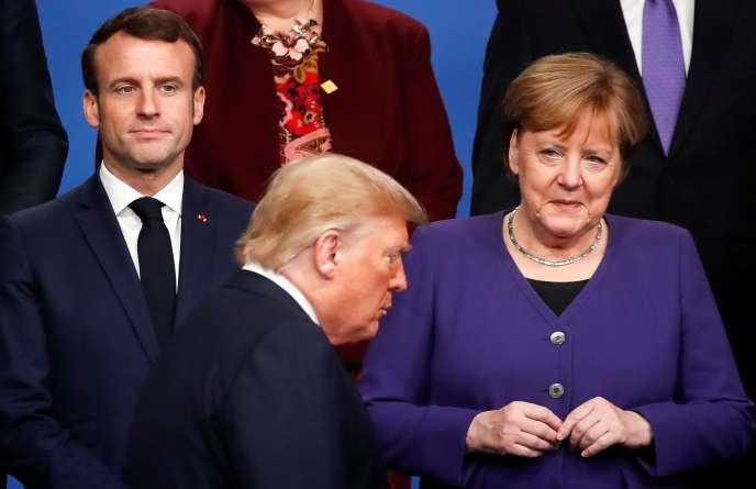 Emmanuel Macron, la chancelière allemande Angela Merkel et le président des Etats-Unis Donald Trump le 4 décembre 2019 à Londres.
