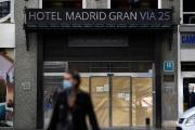 un hôtel sur la Grand Via, la principale rue touristique de Madrid, le 16 octobre.