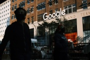 Devant les bureaux de Google à Manhattan, le 20 octobre, àNew York.