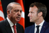 Montage de photos du président turc, Recep Tayyip Erdogan, et du président français, Emmanuel Macron.