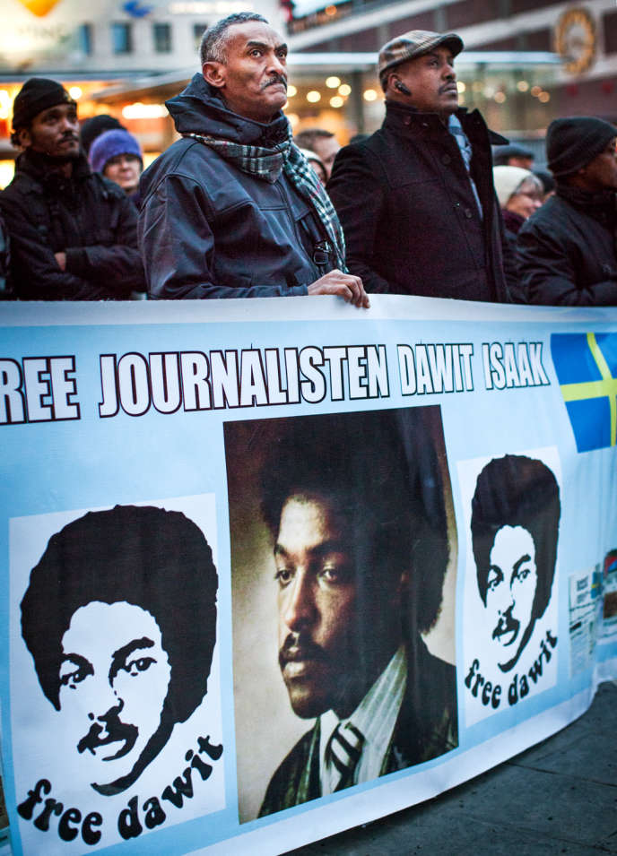 Les soutiens de Dawitt Isaak (ici, une manifestation à Stockholm en janvier 2014) ont dû attendre plusieurs années avant que la Suède se mobilise pour son ressortissant.