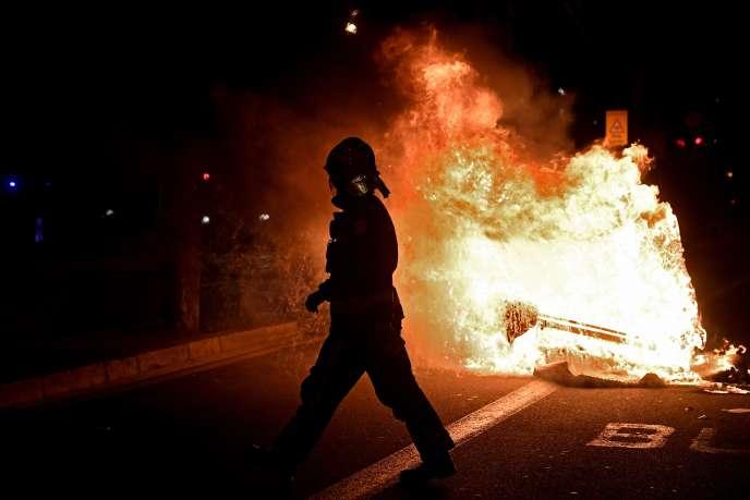 Manifestation à Barcelone le 26 octobre contre les nouvelles mesures sanitaires annoncées par les autorités.