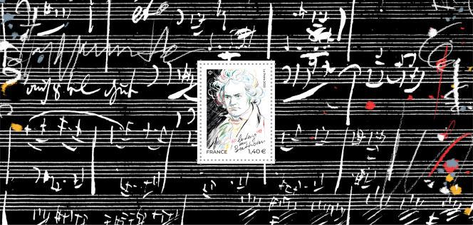 « Beethoven», dessin de Stéphane Manel, mise en page de Valérie Besser, en vente générale le 26 octobre. Version feuillet souvenir tiré à 30000 exemplaires (prix de vente: 4,50 euros).