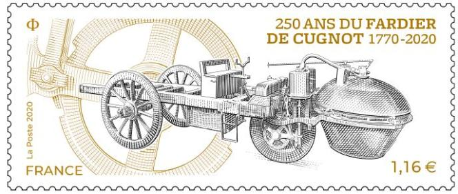 « 250 ans du fardier de Cugnot», dessin et gravure de Sarah Lazarevic, timbre en vente générale le 19 octobre.