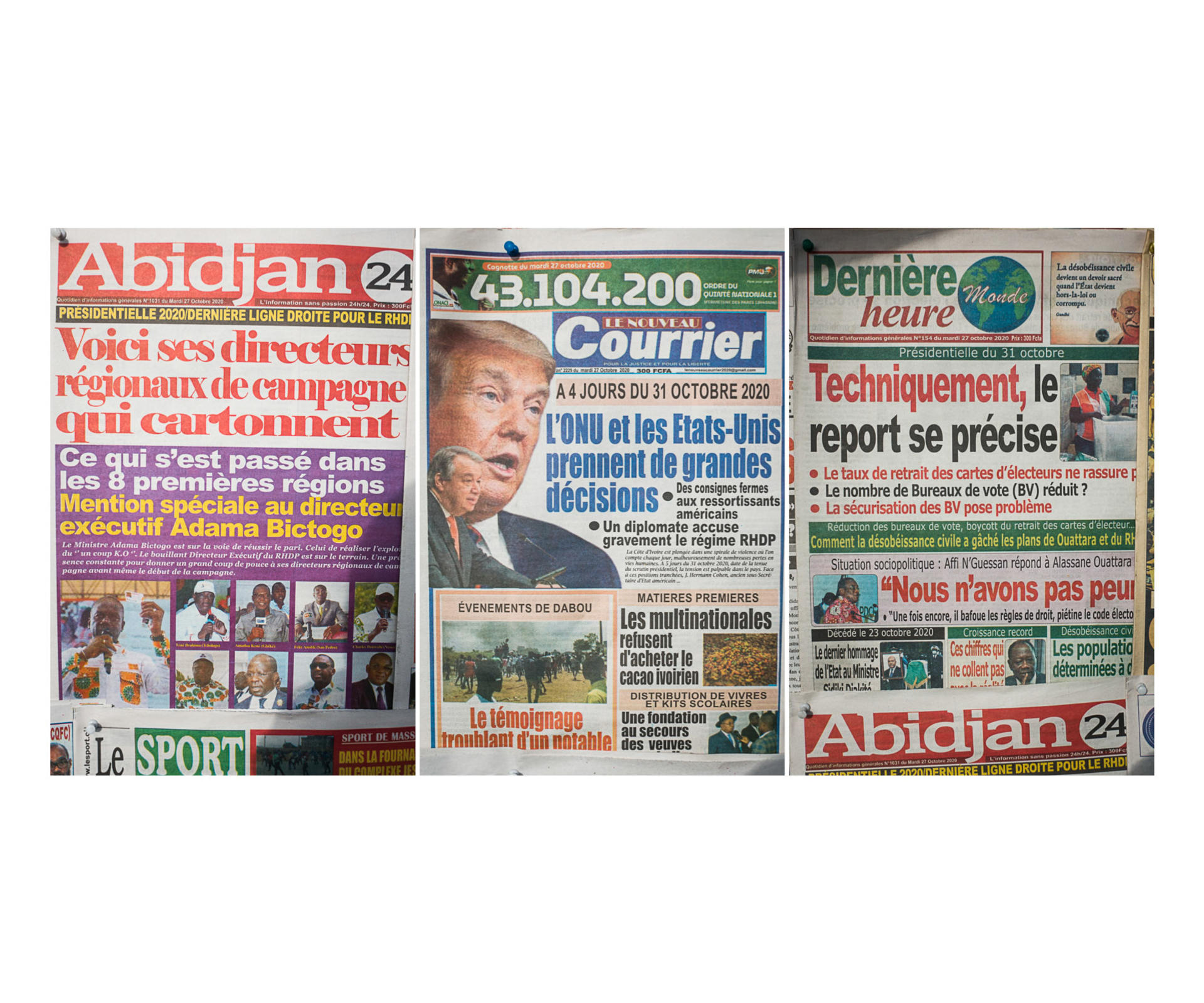 Les journaux du 27 octobre