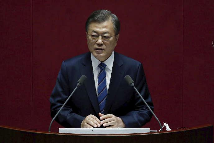 Le président sud-coréen Moon Jae-in à l'Assemblée nationale, à Séoul, le 28 octobre.