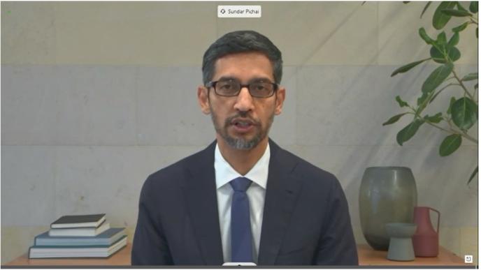 Sundar Pichai, 28 octobre, vidéoconférence devant le Comité du Sénat des États-Unis.