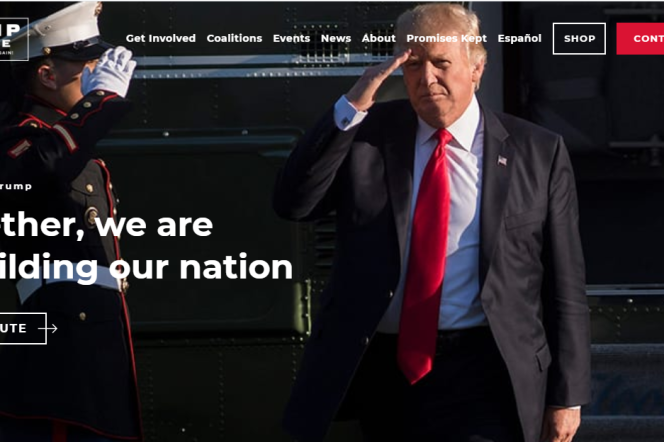 Le site de campagne de Donald Trump.