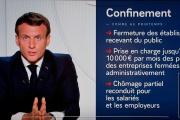 Lors de l'allocution télévisée d'Emmanuel Macron, le 28 octobre.