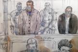 Un croquis de salle d'audience réalisé le 5 octobre 2020 montre Sid Ahmed Ghlam, lors de son procès en première instance, à Paris.