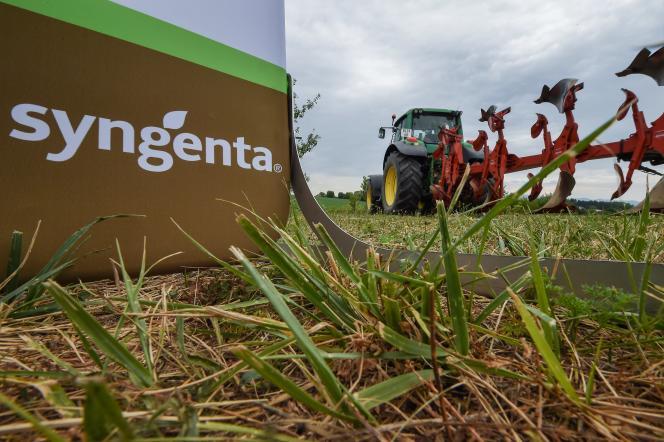 Le logo du fabricant de pesticides Syngenta, àGeispitzen, dans le Haut-Rhin, en 2017.