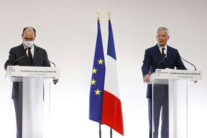 Le premier ministre Jean Castex et le ministre de l'économie Bruno Le Maire, lors d'une conférence de presse à Matignon, le 29 octobre.