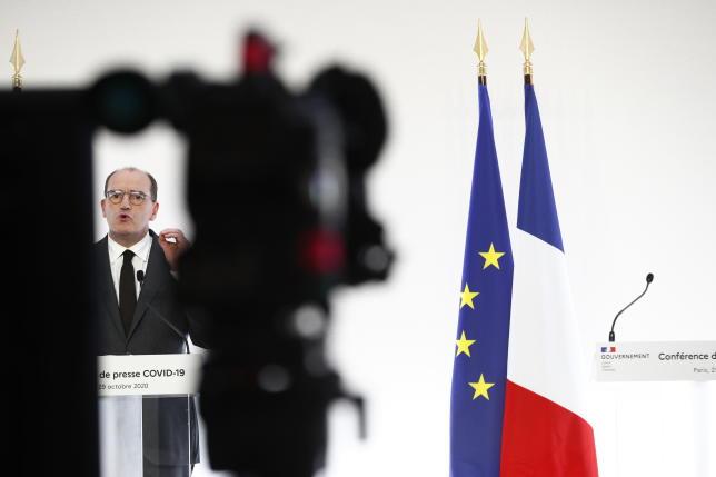 Le premier ministre Jean Castex donne une conférence de presse détaillant les mesures de reconfinement, à Paris, le 29 octobre.