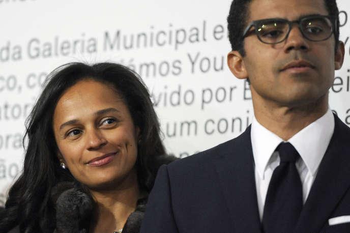Sindika Dokolo (à droite), en compagnie de son épouse Isabel dos Santos, à Porto, au Portugal, en mai 2014.