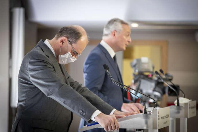 Jean Castex et Bruno Le Maire, lors d'une conférence de presse sur le Covid-19, à Paris, le 29octobre.