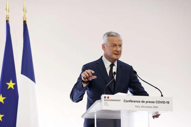 Bruno Le Maire, ministre de l'économie, lors de la conférence de presse du 29 octobre à Matignon.