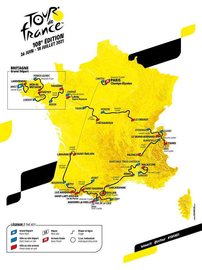 Le parcours officiel du Tour de France 2021