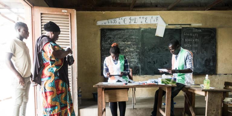 Bureau de vote situé à Koumassi au sein de l'école Sicogi Est.