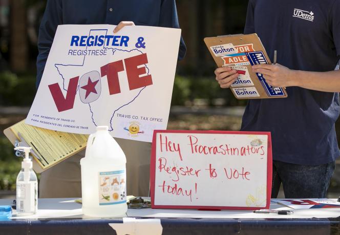 Campagne d'inscription des électeurs à l'université du Texas, à Austin, le 5 octobre.