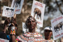 A Samburu woman holds a placard during the Global March for Elephants, Rhinos, Lions and other endangered species (GMFER) to raise awareness and demand governments take action to stop the poaching of elephants and rhinos and protect endangered wildlife in Nairobi, Kenya, on April 13, 2019. (Photo by Yasuyoshi CHIBA / AFP)