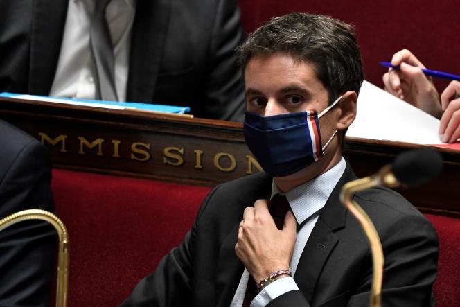 Le porte-parole du gouvernement, Gabriel Attal, lors de la session des questions au gouvernement, le 3 novembre.