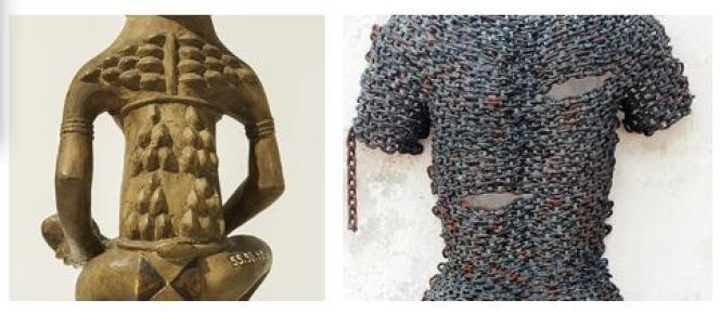 A gauche, statue de mère et enfant, Kongo central (RDC). A droite, « Dos», de l'artiste Freddy Tsimba(2016).