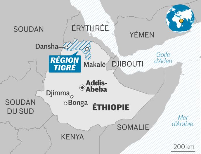 Carte Ethiopie région Tigré
