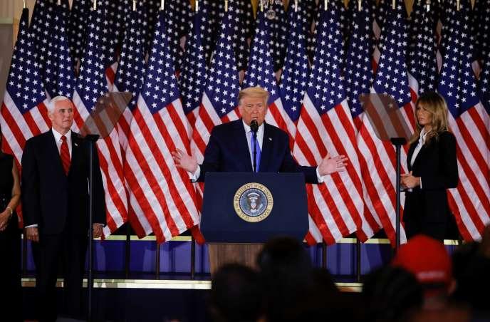 Donald Trump lors de sa prise de parole au soir de l'élection présidentielle américaine, mardi 3 novembre 2020, depuis la Maison Blanche.