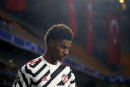 Manchester United's Marcus Rashford walks off the pitch after being substituted during the Champions League group H soccer match between Istanbul Basaksehir and Manchester United at the Fatih Terim stadium in Istanbul, Wednesday, Nov. 4, 2020. (AP Photo)