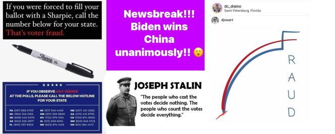 Exemples d'images publiées dans le groupe Facebook « Stop the Steal», évoquant des fraudes massives ou une supposée«corruption» de Joe Biden.
